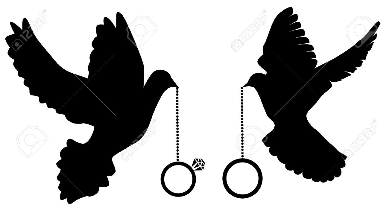 Vector Illustration Of Doves Silhouettes With Wedding Rings Royalty