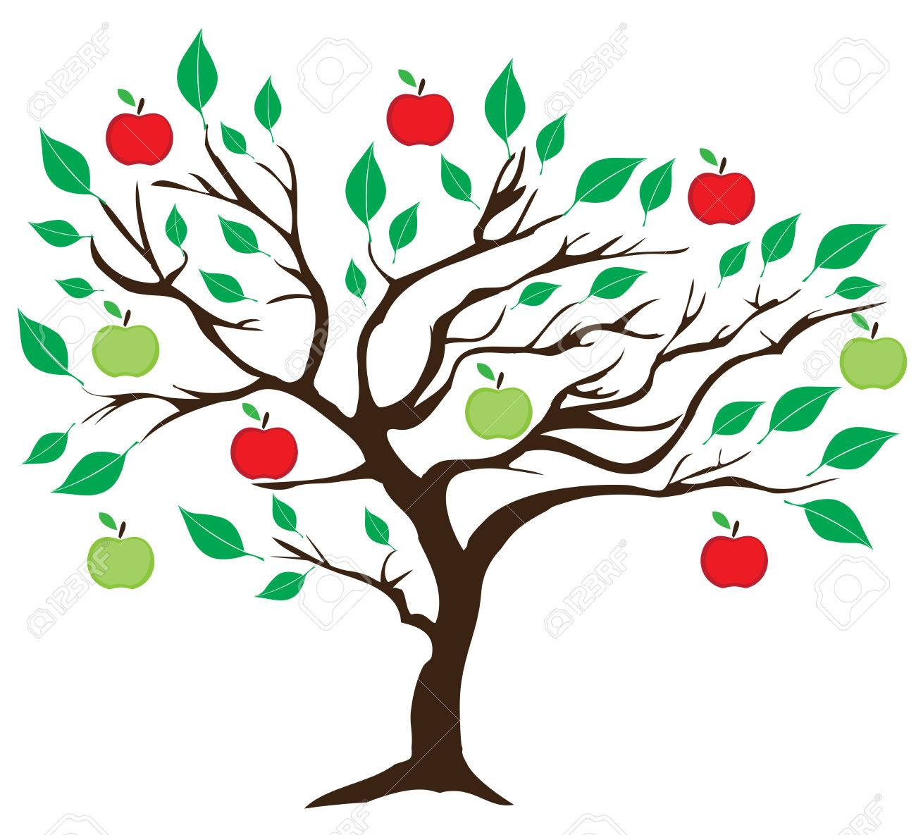Vector Illustration Of An Apple Tree With Red And Green Apples