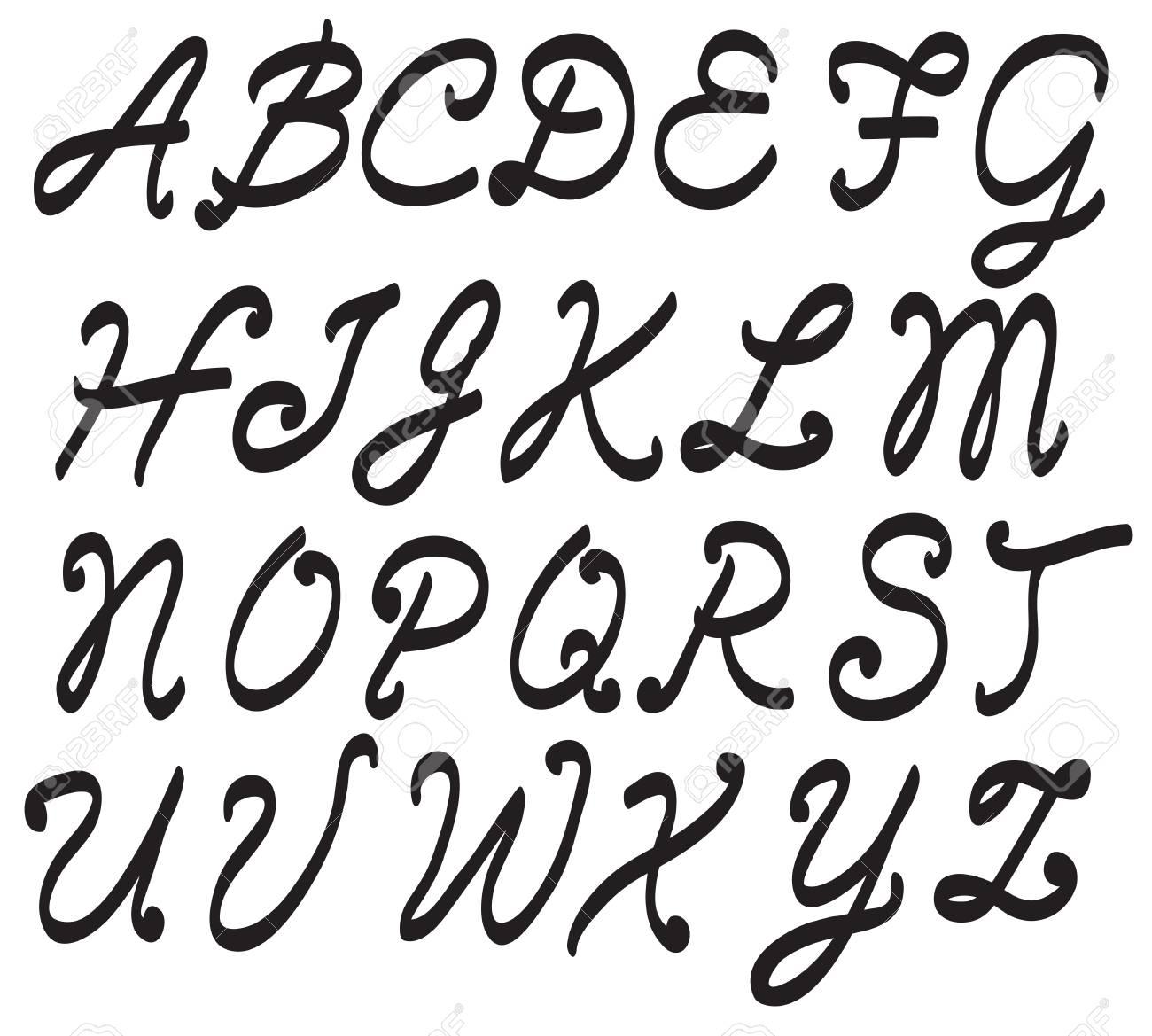 Vector Handwritten Script Font Hand Drawn Brush Style Modern