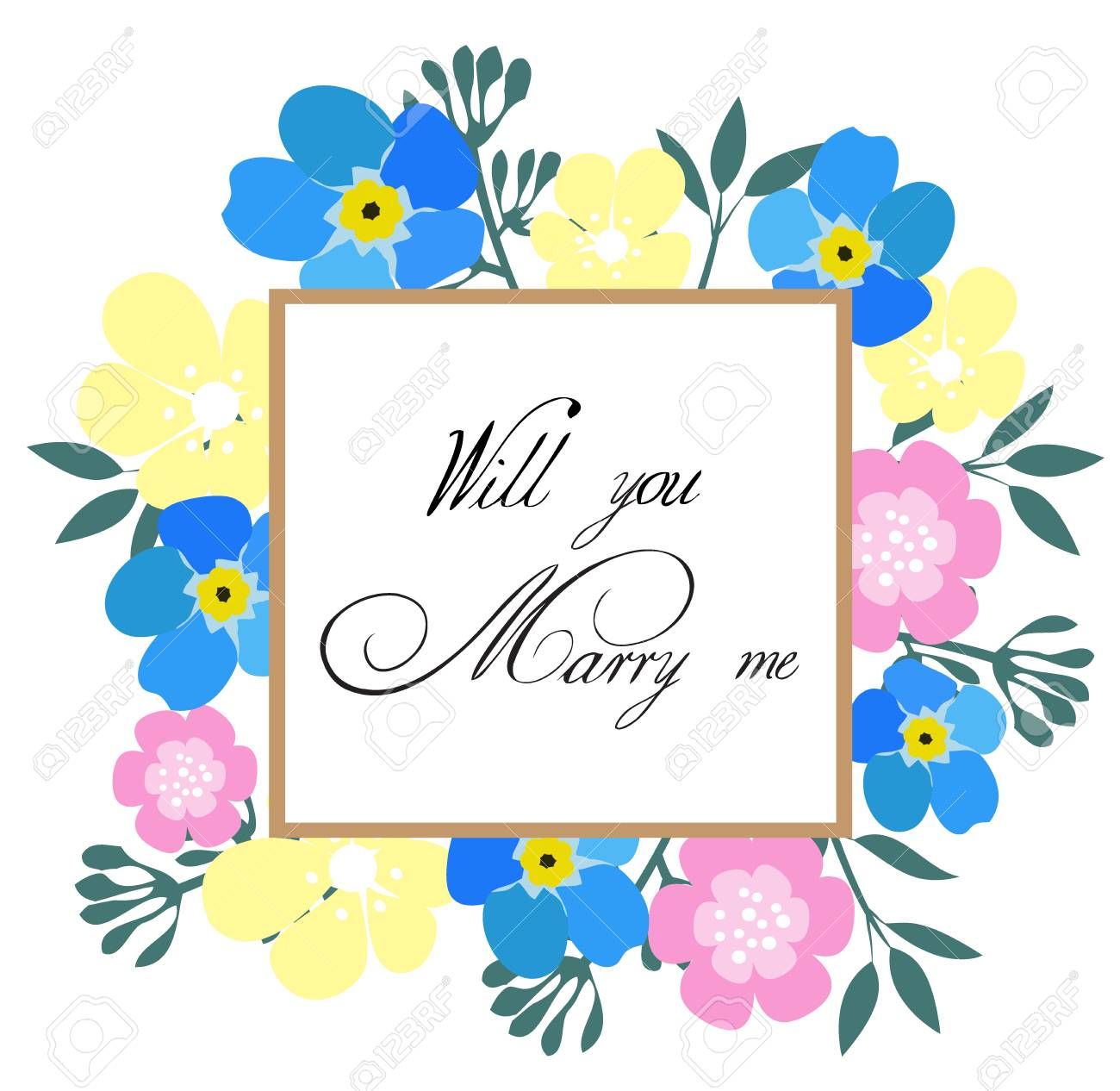 Vector Illustration Of A Floral Frame Will You Marry Me Card Royalty