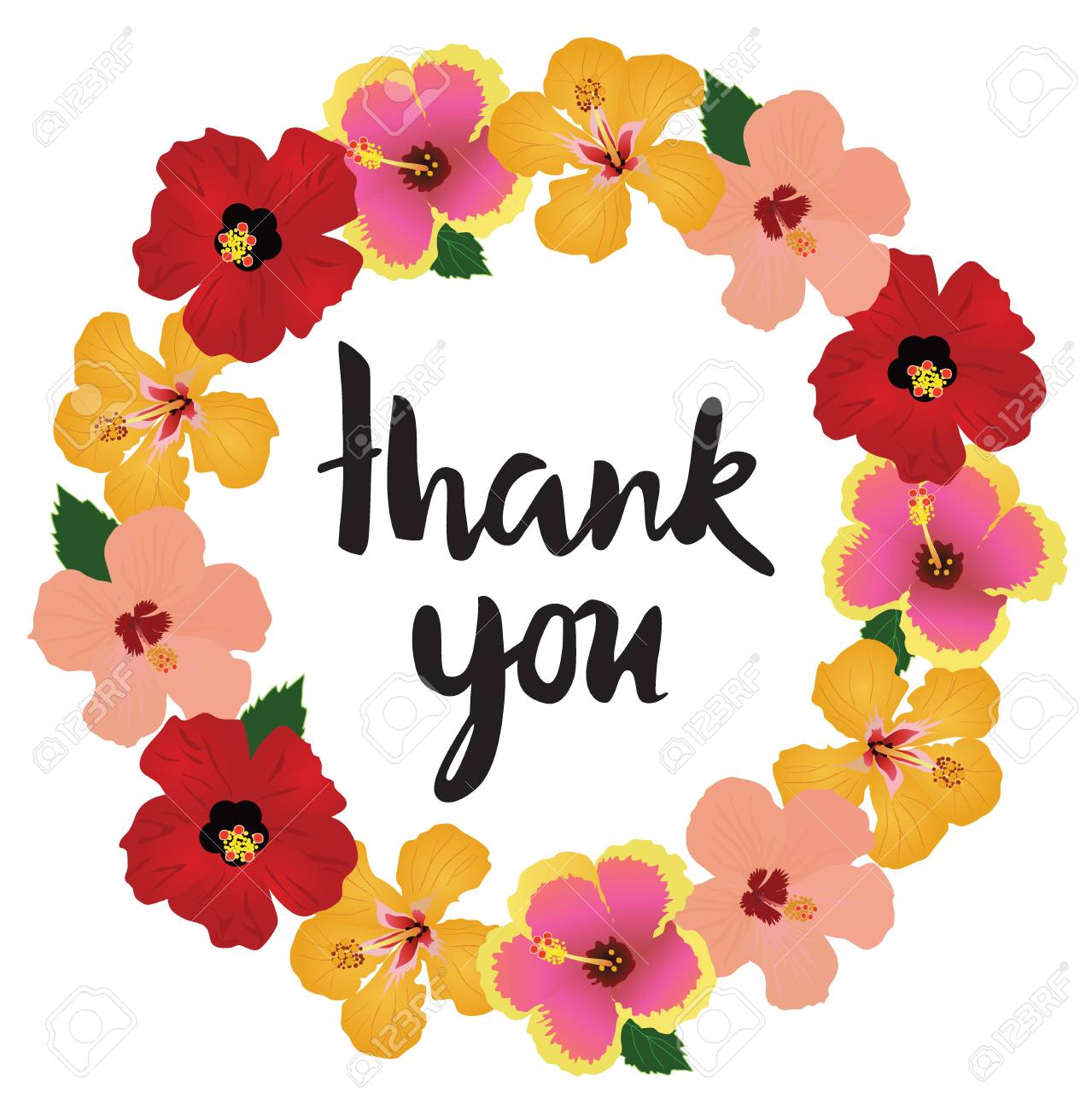 Vector Illustration Of Tropical Flowers Frame Thank You Card Royalty ...