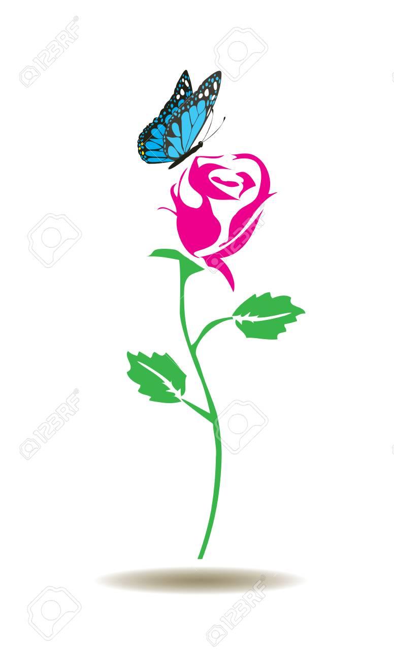 蝶とバラのシルエットのベクター イラストのイラスト素材ベクタ