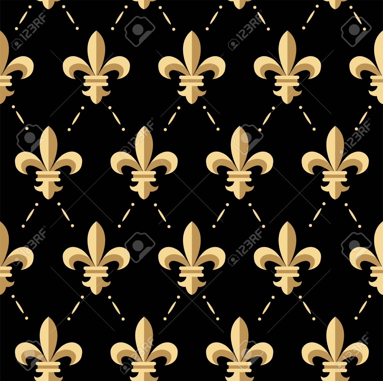 Vector Illustration Of Golden Fleur De Lis Seamless Pattern