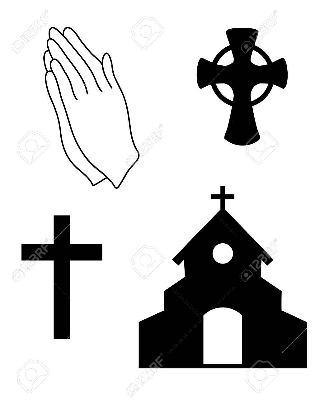 Vector Illustration Of Christian Faith Church Symbols Praying