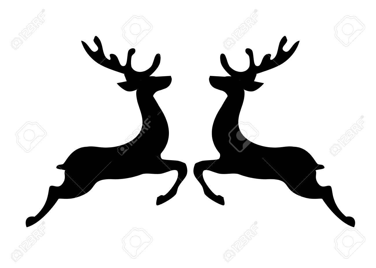 Christmas Reindeer Silhouette.Illustration Of Christmas Reindeer Silhouette