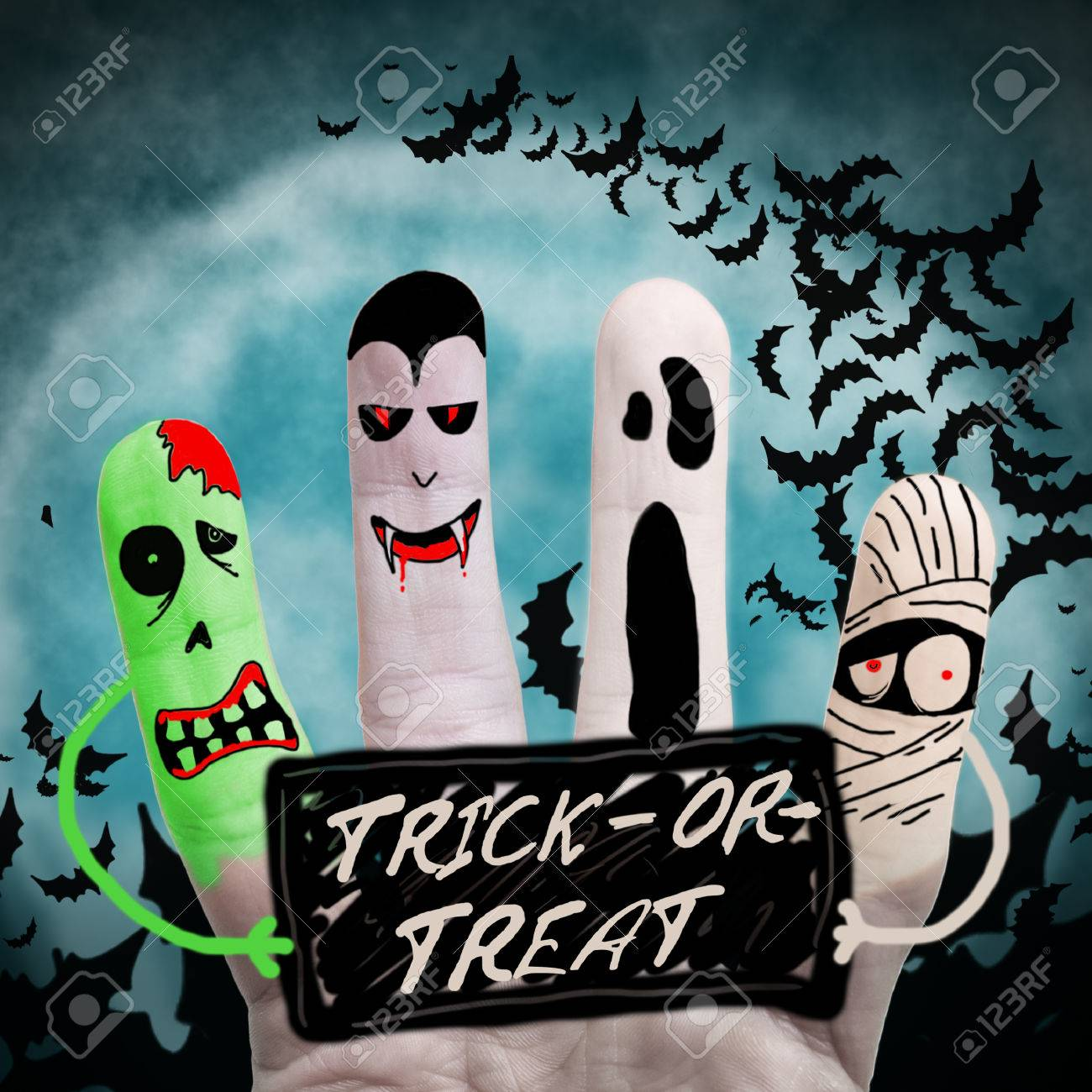 Halloween Monsters Holding List Stock Photo, Picture And Royalty ...