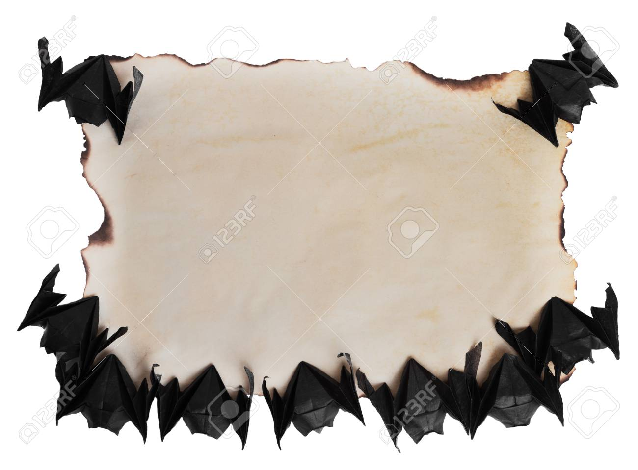 Frame Of Origami Bats Around Papyrus, Space For Text Stock Photo ...