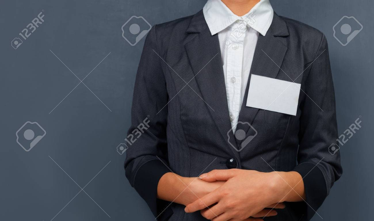 Businesswoman with a name tag on the chest, space for text - 37662558
