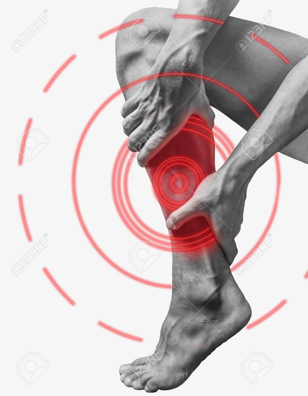 Akuter Schmerz In Einem Männlichen Wadenmuskel. Einfarbiges Bild ...