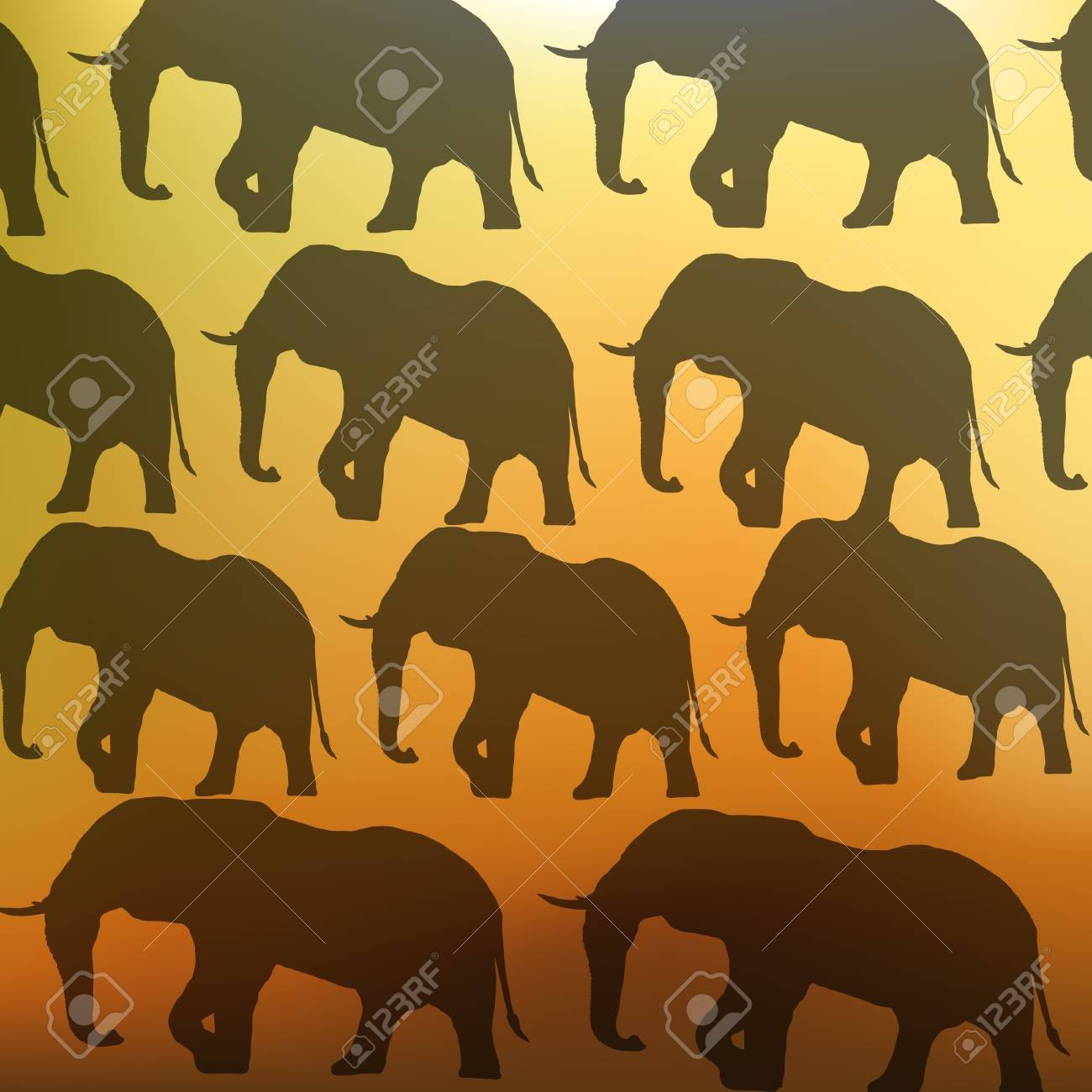 Animal background with elephants Stock Vector - 16984366