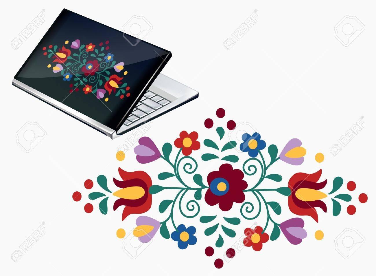 Notebook Decoración Con Diseño Hermoso Bordado Húngaro Ilustraciones ...