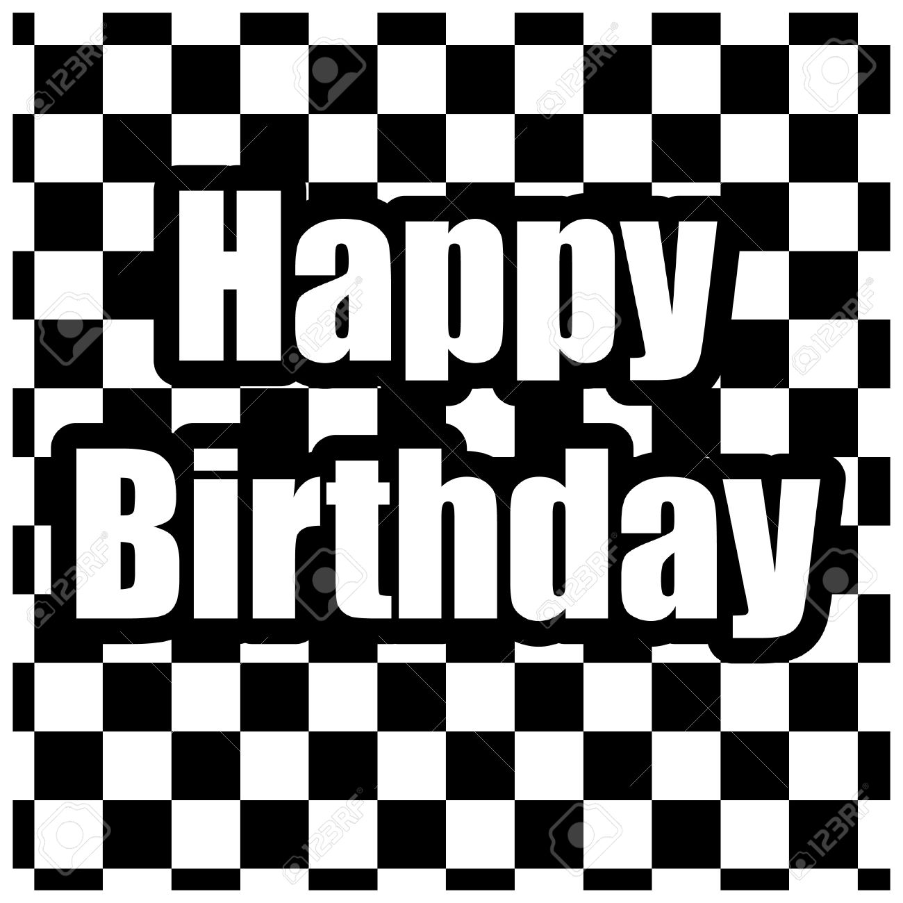 Black And White Happy Birthday Card Royalty Free Cliparts Vectors – Birthday Cards Black and White