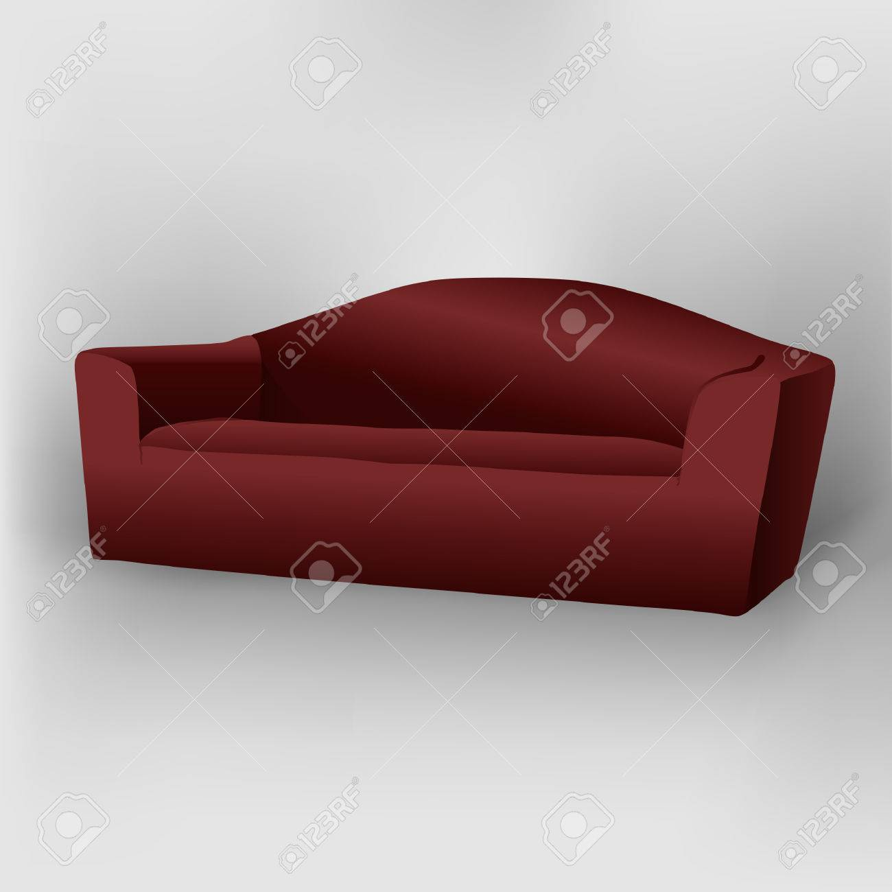 Dark red sofa with shadow