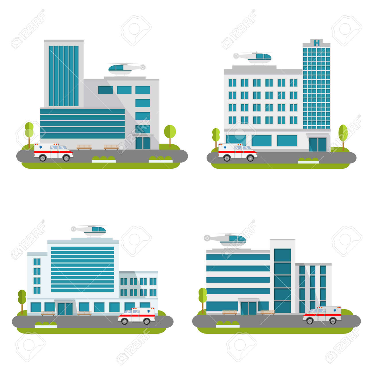 Set of the modern medical centers of rendering ambulance. Hospital with car and helicopter.Ambulatory care. - 157042652