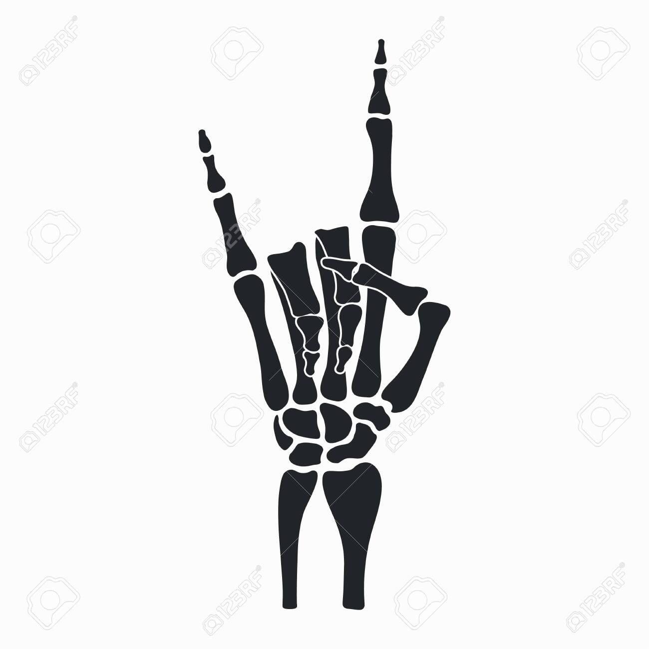 Rock skeleton hand. Heavy metal sign - horns. Rock-n-roll gesture from fingers bones. Vector illustration. - 125470914