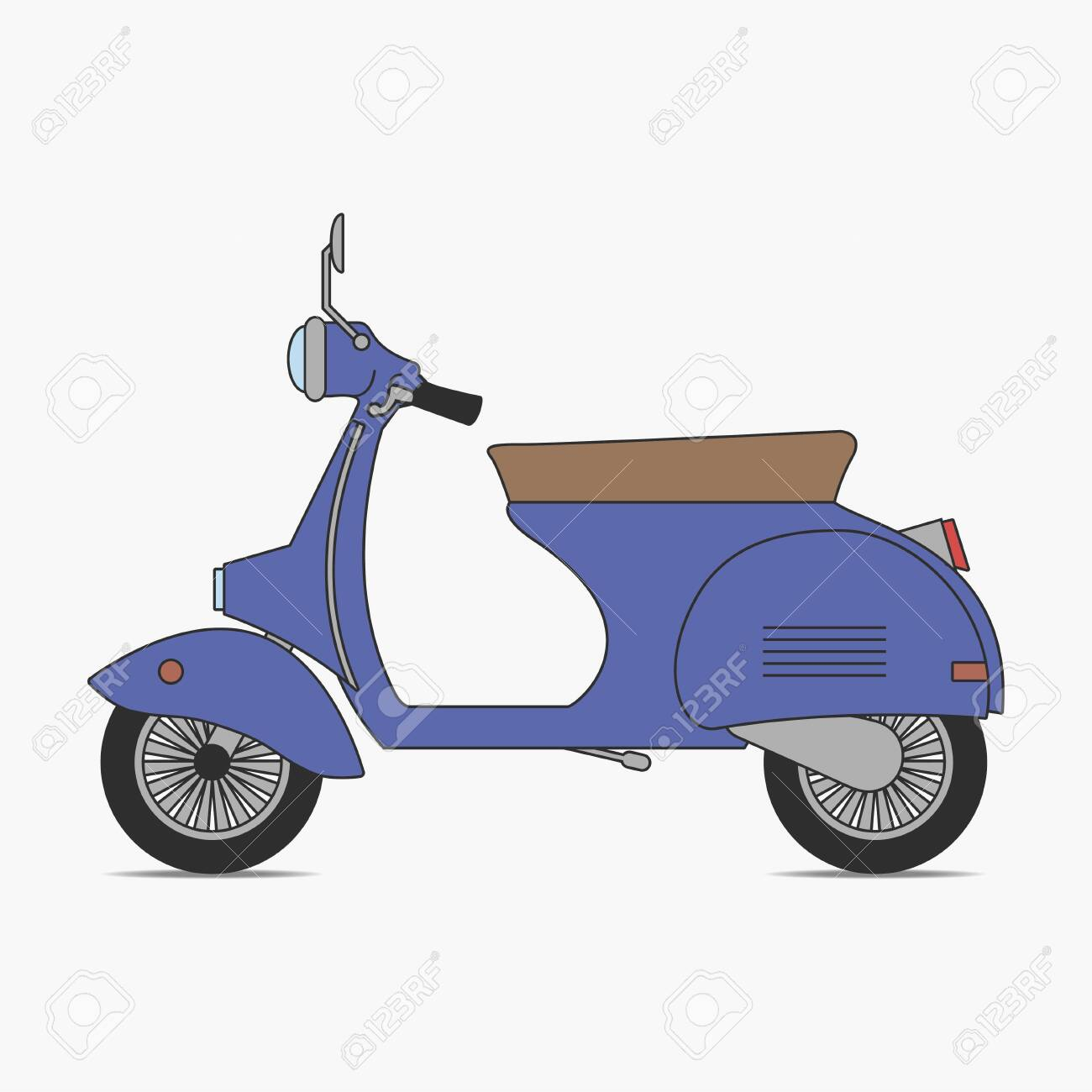 Vintage Scooter Moped Little Retro Motorcycle Two Wheeled Royalty Free Cliparts Vectors And Stock Illustration Image 125470920