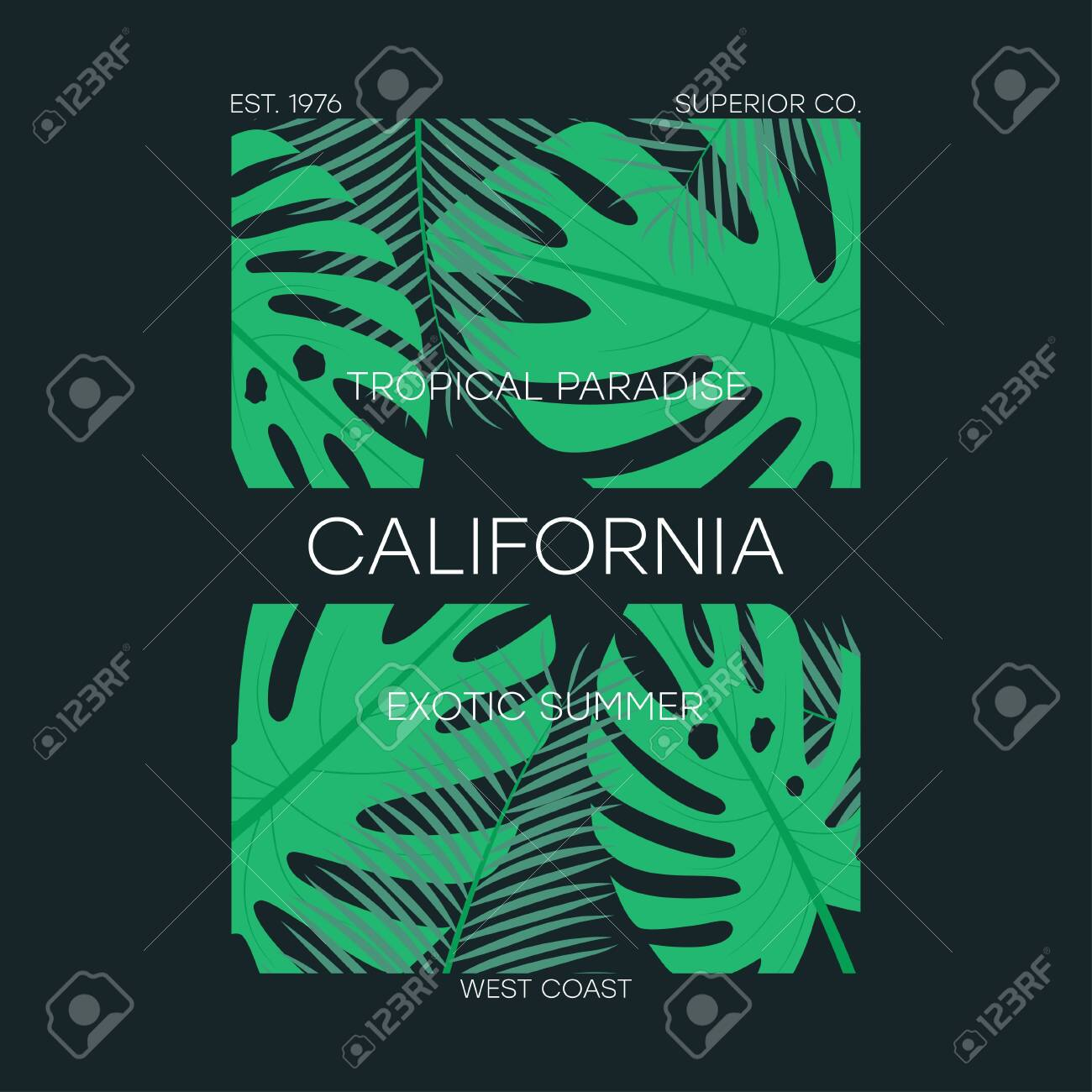 California T Shirt Typography With Tropical Leaves Original Royalty Free Cliparts Vectors And Stock Illustration Image 127855139 Download the perfect tropical leaves pictures. 123rf com