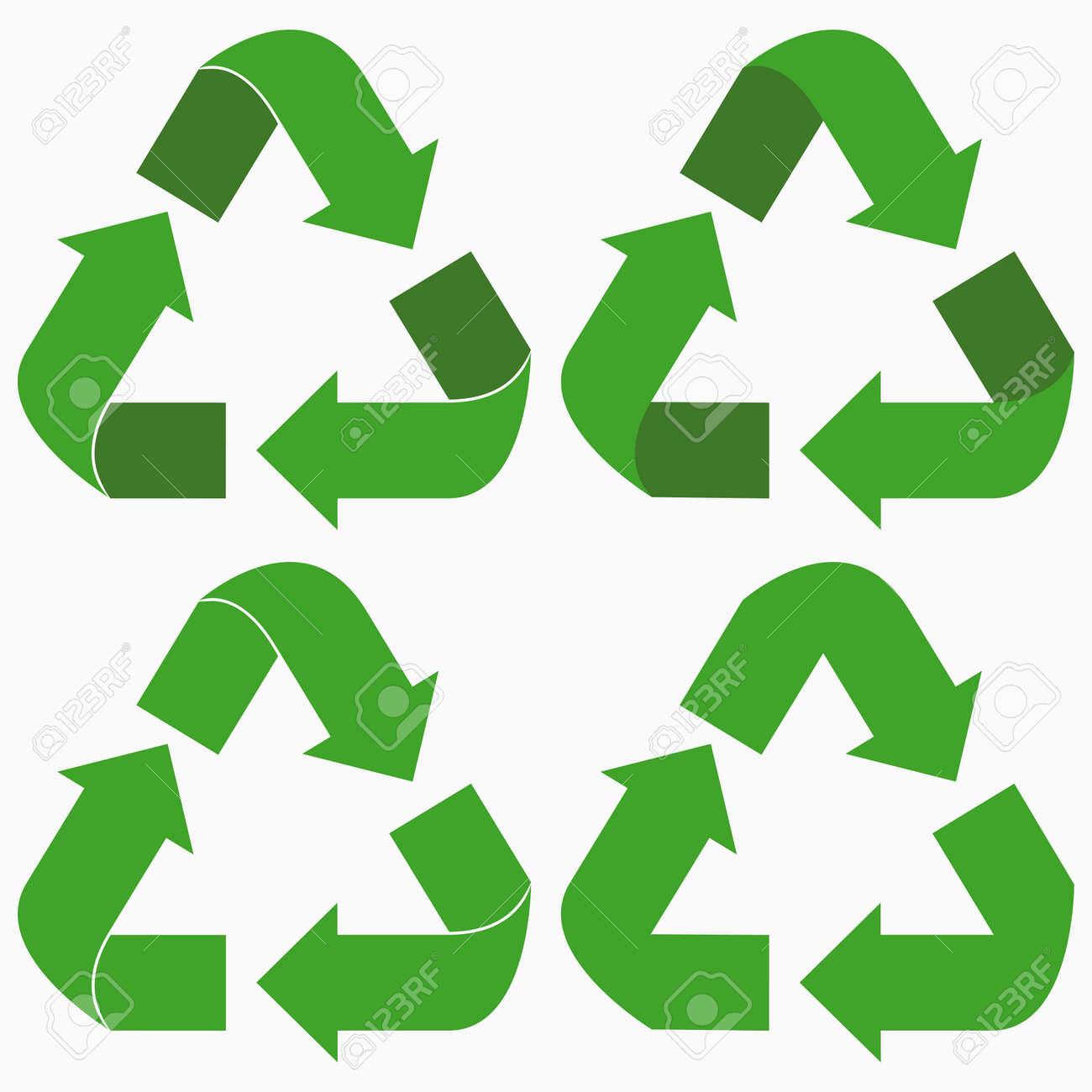 Green recycle arrows set. Vector illustration. - 126781514