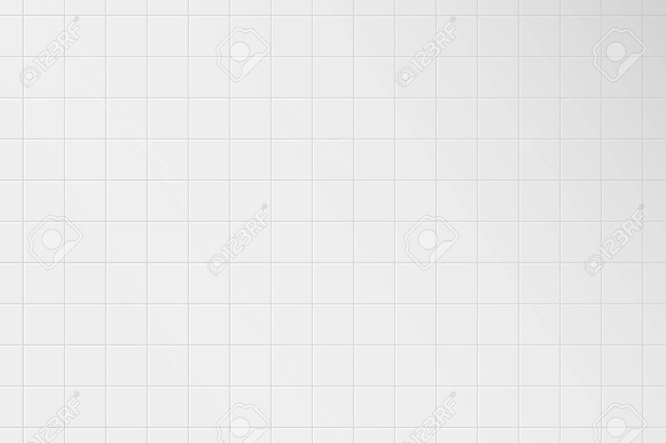 White tile wall. Pattern of ceramic tiled grid for bathroom, kitchen or toilet interior. Realistic 3d square tile with shadow. Vector illustration. - 145529923