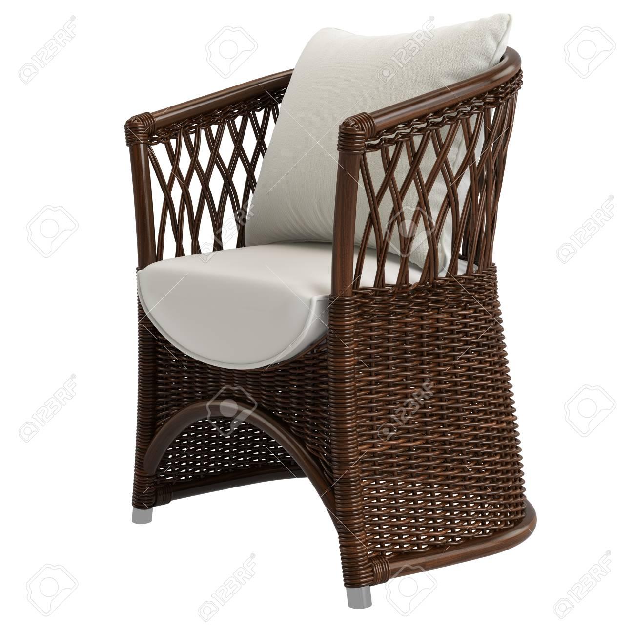 Garden Rattan Wicker Chair On White Background.Digital Illustration.3d  Rendering Stock Illustration