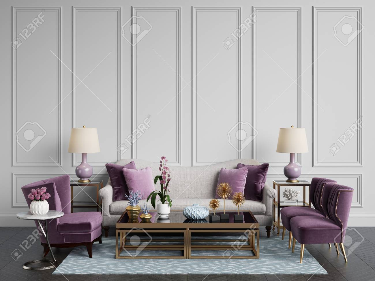 Classic Interior.Sofa,chairs,sidetables With Lamps,table With ...