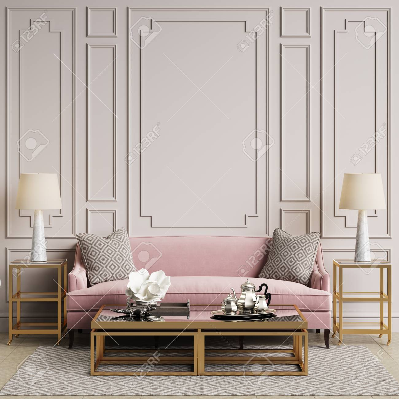 Classic Interior In Pastel Colors Sofa Chairs Sidetables With