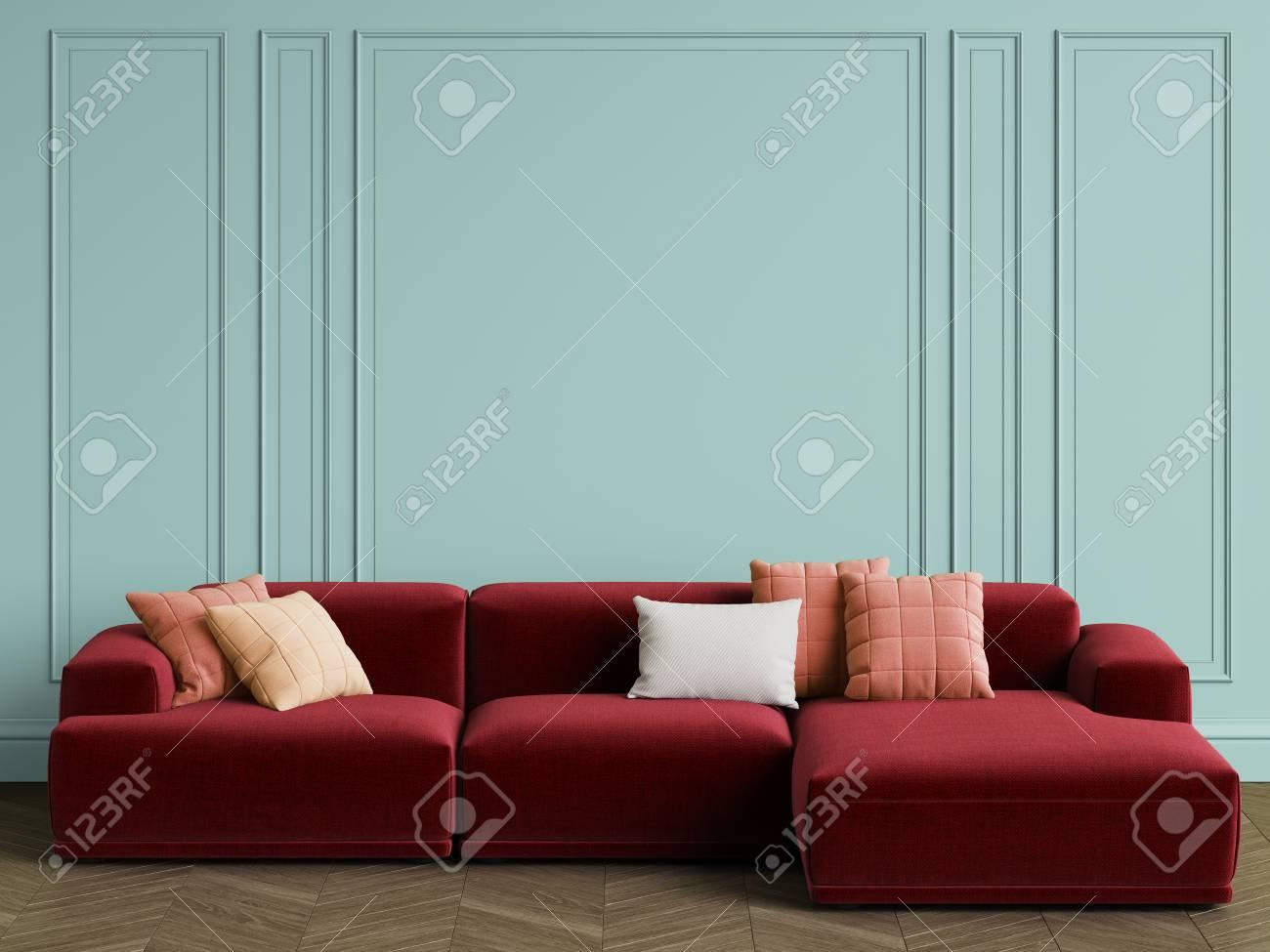 Modern Scandinavian Design Sofa In Interior. Walls With Moldings ...