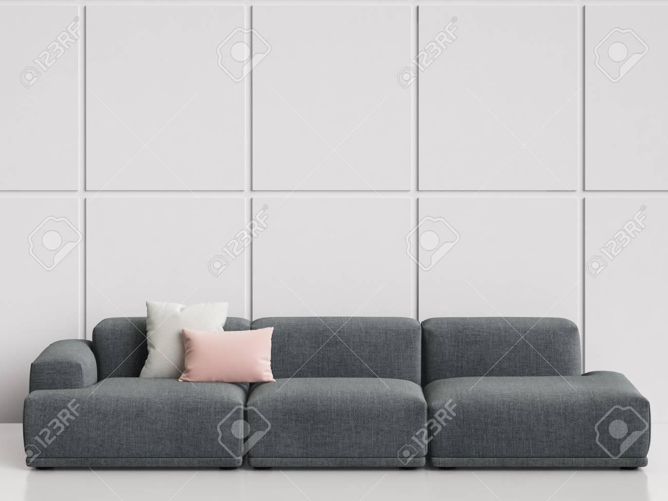 Modern Scandinavian Design Sofa In White Empty Interior.Copy.. Stock ...