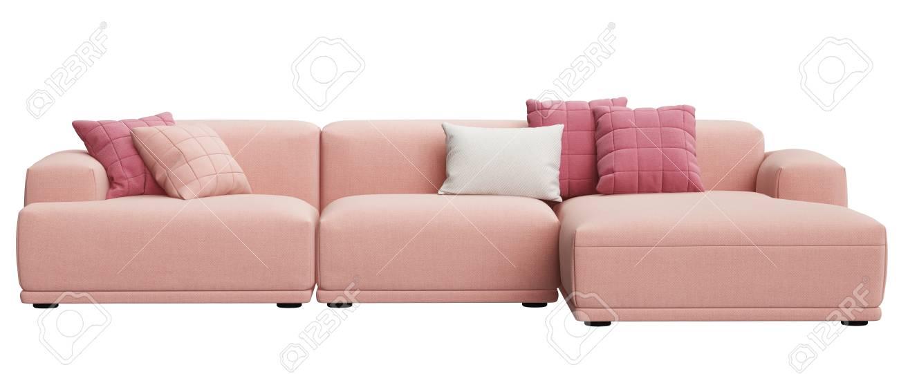 Modern Scandinavian Design Sofa Isolated On White Background.Digital ...