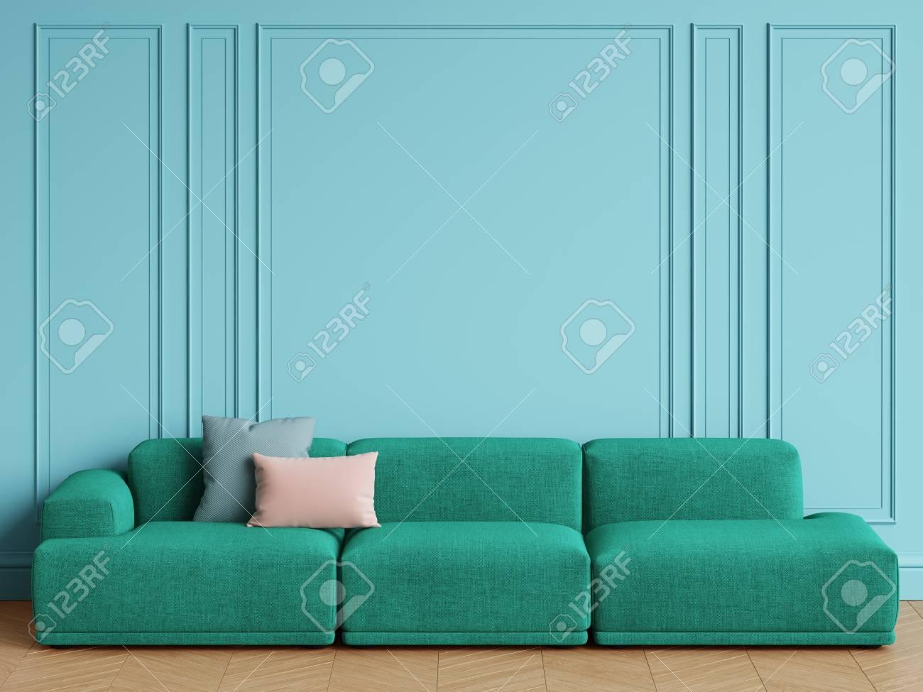 Illustration   Modern Scandinavian Design Emerald Green Sofa In Interior.  Blue Walls With Moldings,floor Parquet Herringbone.Copy Space,mockup  Interior.