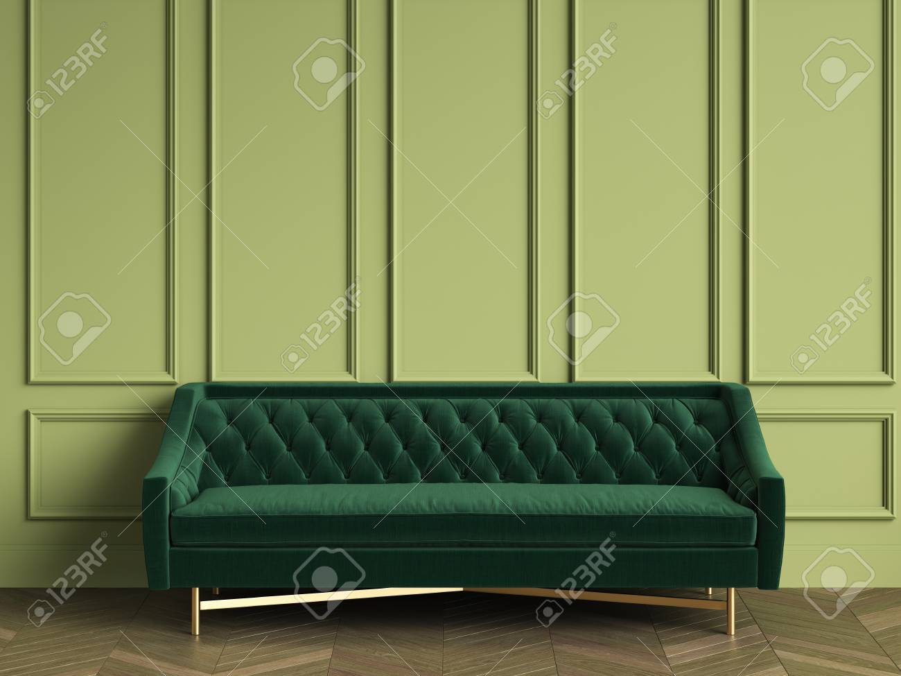 Tufted Dark Green Sofa In Classic Interior With Copy Space.Green ...