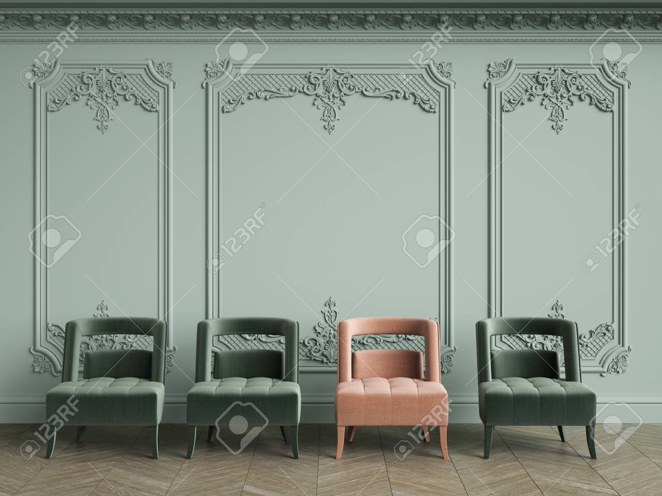 https://previews.123rf.com/images/remuhin/remuhin1803/remuhin180300260/98044088-pink-armchair-among-green-ones-in-classic-vintage-interior-with-copy-space-pale-olive-walls-with-mol.jpg