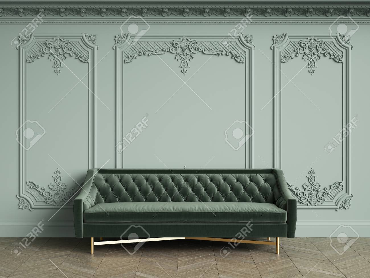 Green Tufted Sofa In Classic Vintage Interior With Copy Space.Pale ...