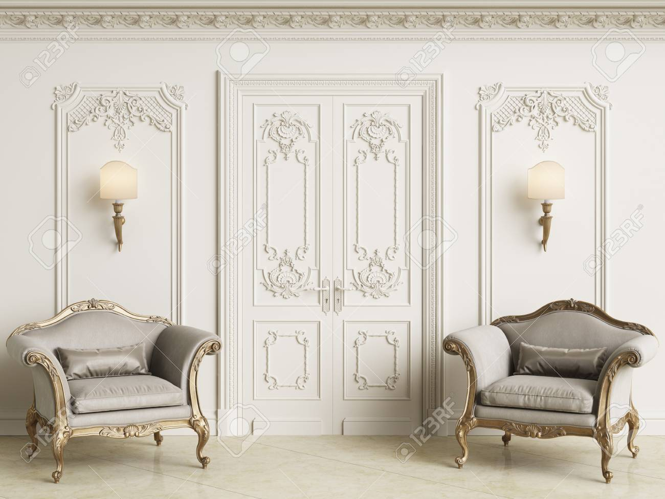 Classic Baroque Armchais In Classic Interior. Walls Wth Moldings And  Decorated Cornice.Marble Floor