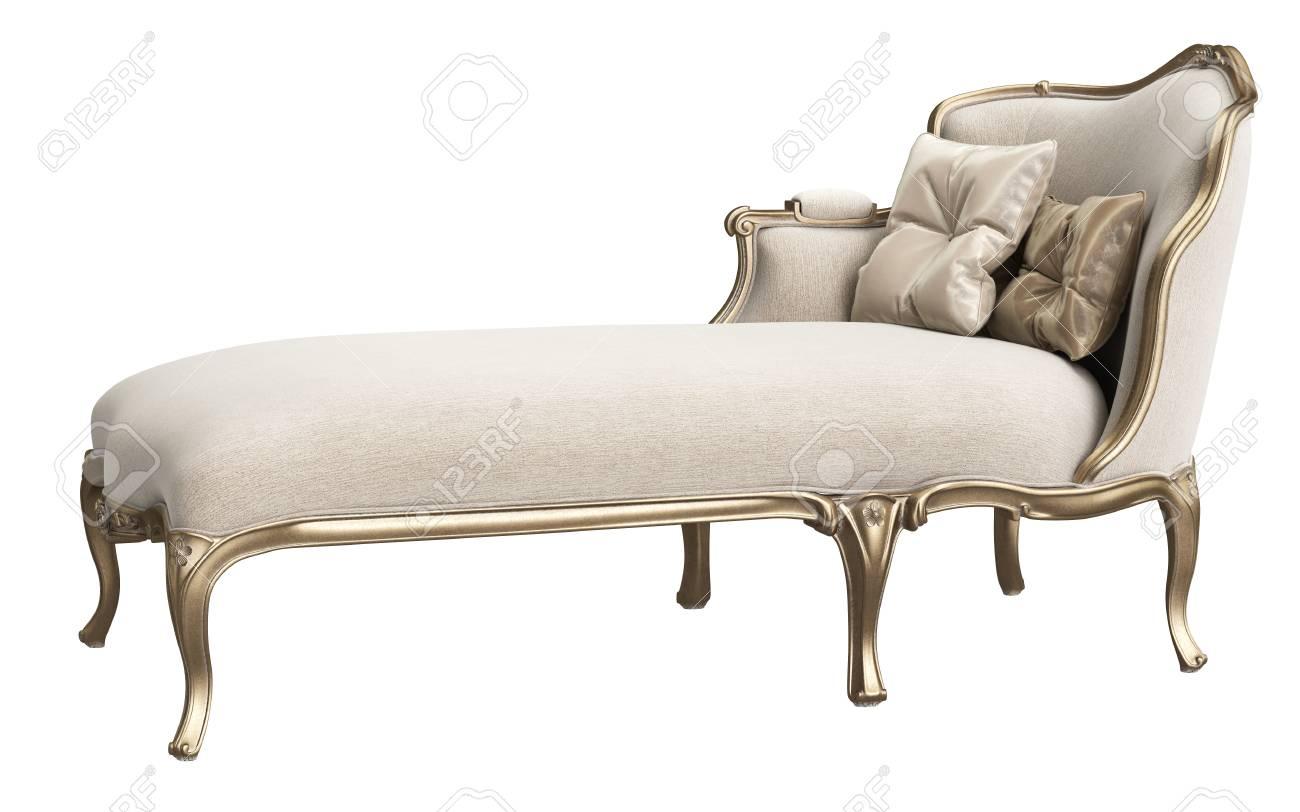 Classic chaise longue isolated on white background. Gilded woodcarving ,beige velvet,silk pillows. Digital illustration. 3d rendering - 98039987