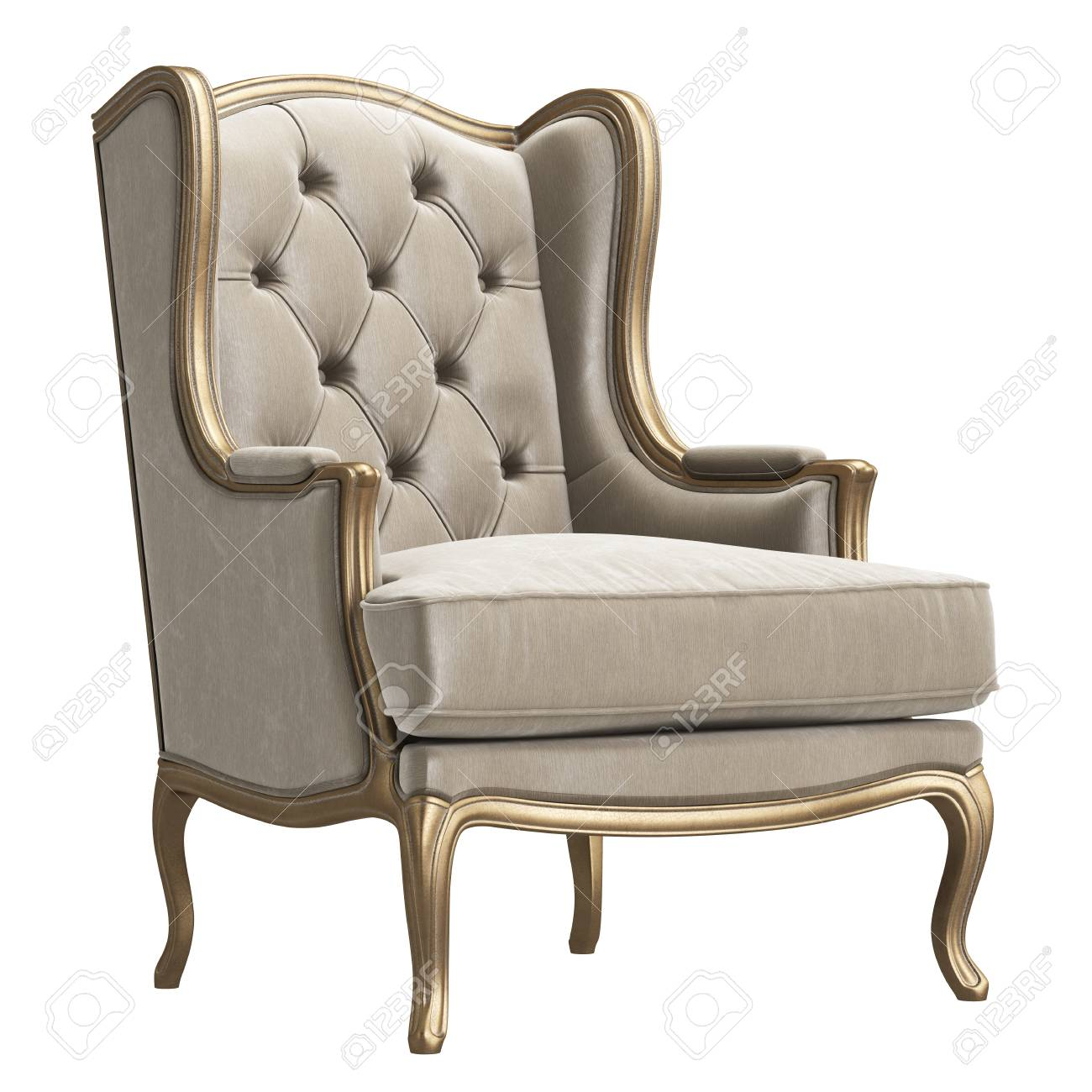 Classic Armchair In Ivory Color Velvet And Gold Isolated On White  Background.Digital Illustration.
