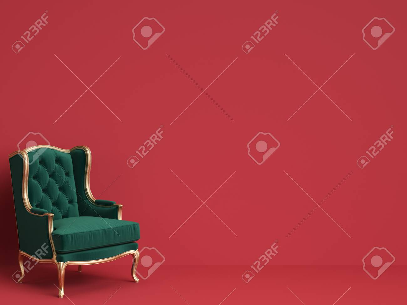 Classic Chair In Emerald Green And Gold On Red Background With Copy SpaceDigital Illustration