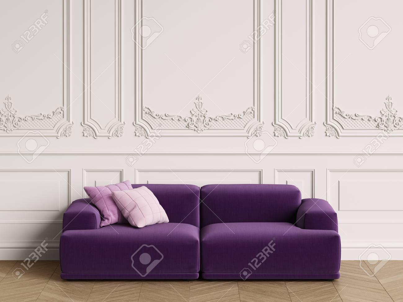Modern Scandinavian Design Sofa In Classic Interior. Walls With ...