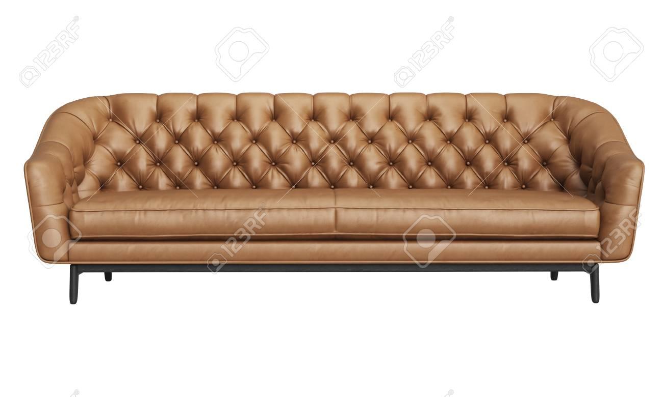 Classic Tufted Sofa Isolated On White Background Digital