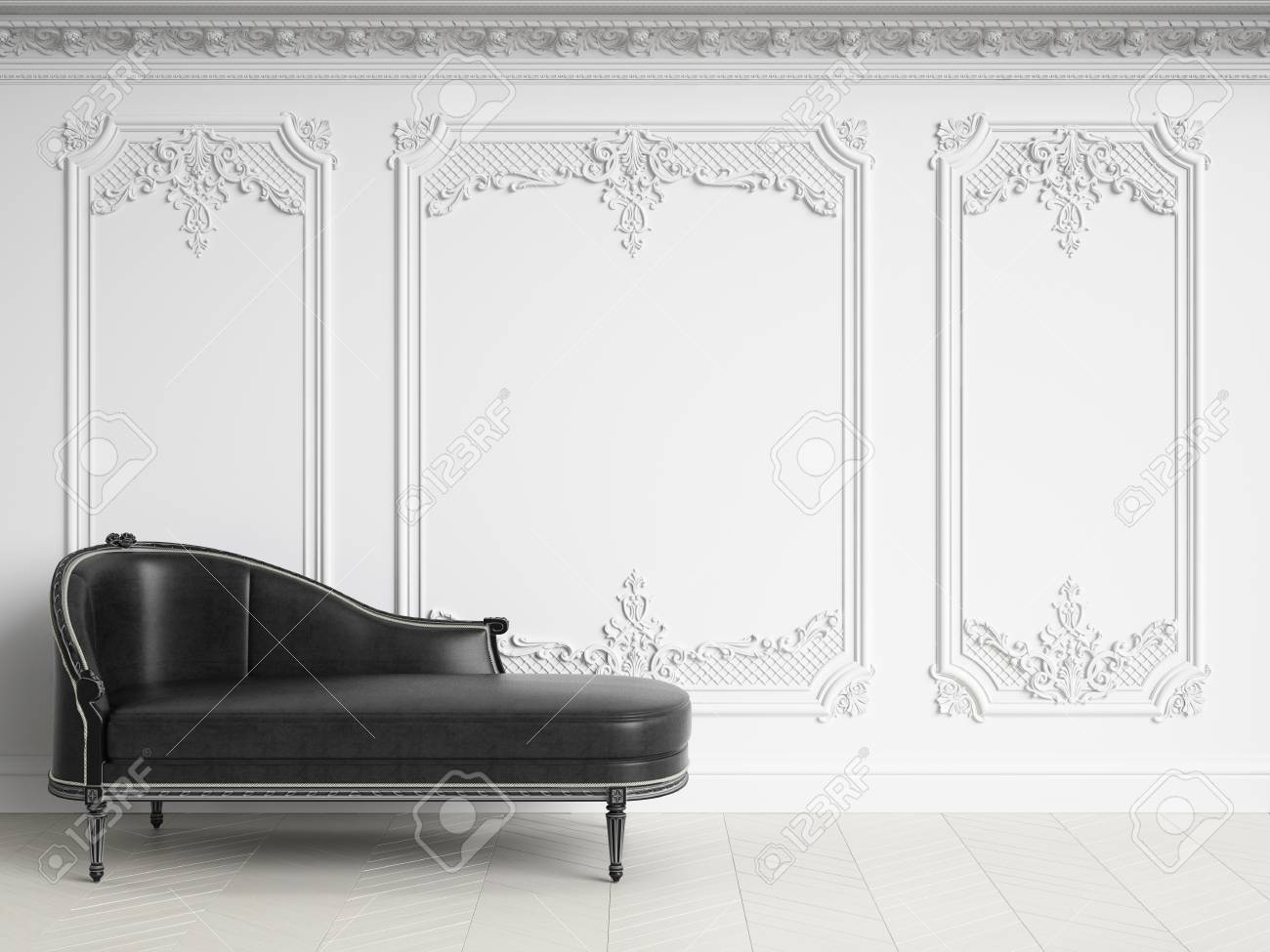 Classic chaise longue in classic white interior with copy space.Walls with mouldings,ornated cornice. Floor parquet herringbone.Digital Illustration.3d rendering - 124693891