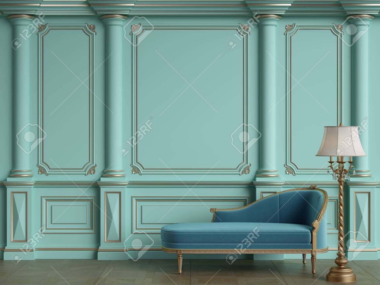 Classic chaise longue in classic interior with copy space.Walls with ornated mouldings.Floor parquet.Digital Illustration.3d rendering - 150433207