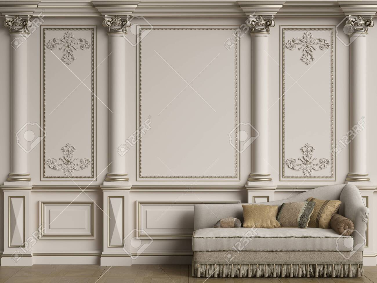 Classic furniture in classic interior with copy space.Walls with ornated moldings.Floor parquet.Digital Illustration.3d rendering - 155943371