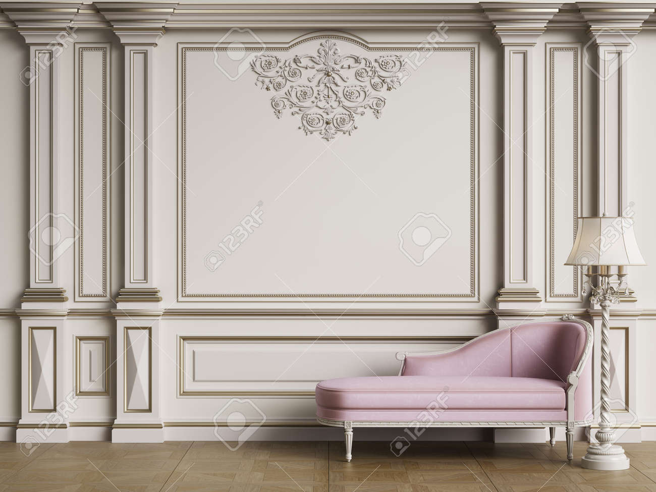 Classic furniture in classic interior with copy space.Walls with ornated moldings.Floor parquet.Digital Illustration.3d rendering - 155943514