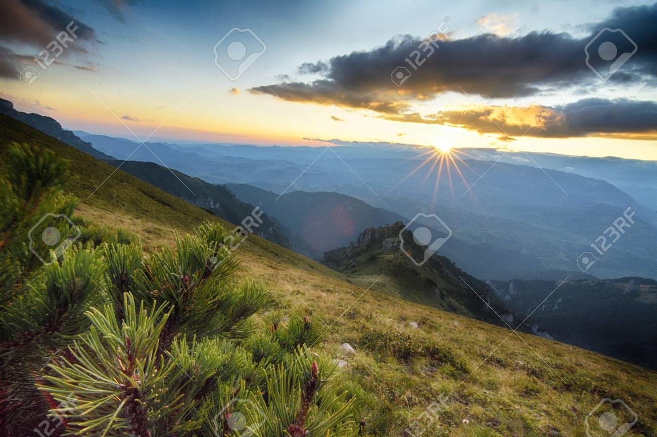 majestic sunset in the mountains landscape carpathian romania