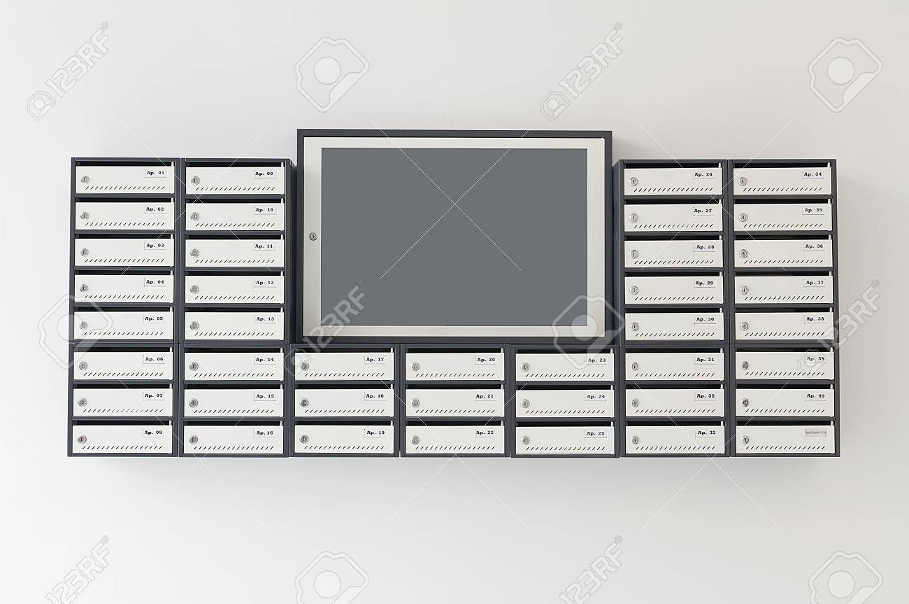 Mailboxes For Apartment Building With A Notification Board Stock ...