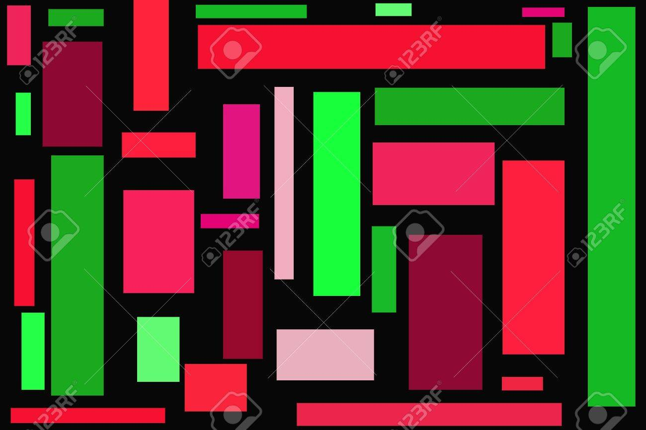 Different Shades Of Red rectangles in different shades of red and green - black background