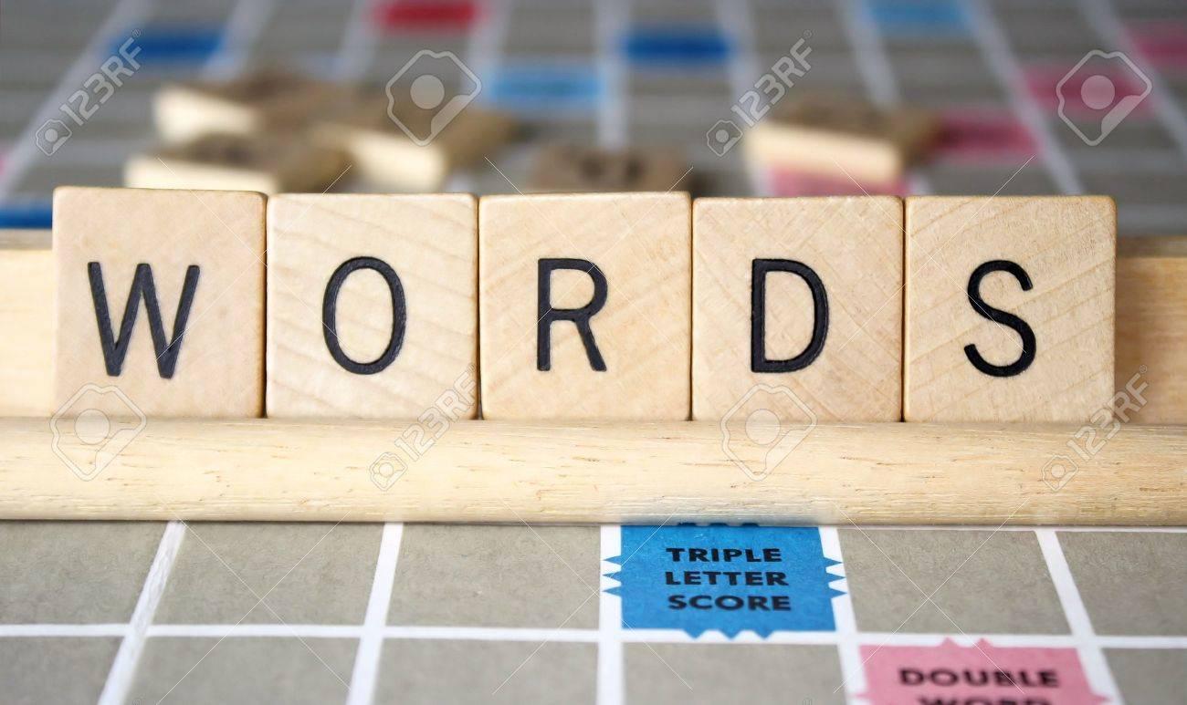 Immagini stock le parole è scritto utilizzando piastrelle di