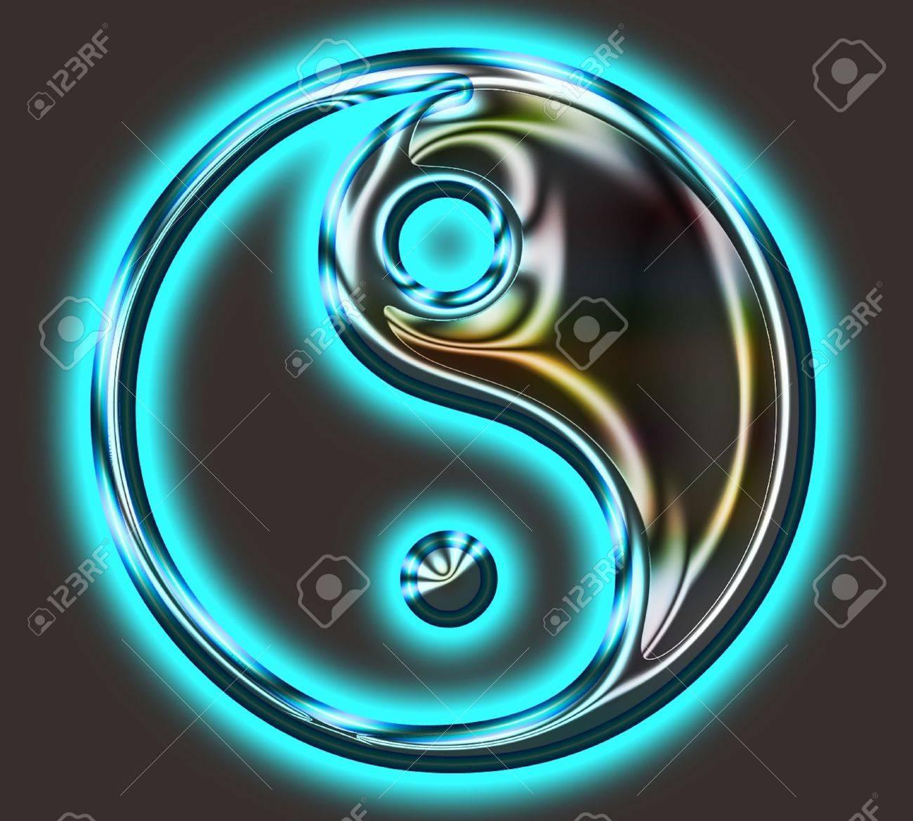Yin Yang Symbol - metallic Stock Photo - 20016156