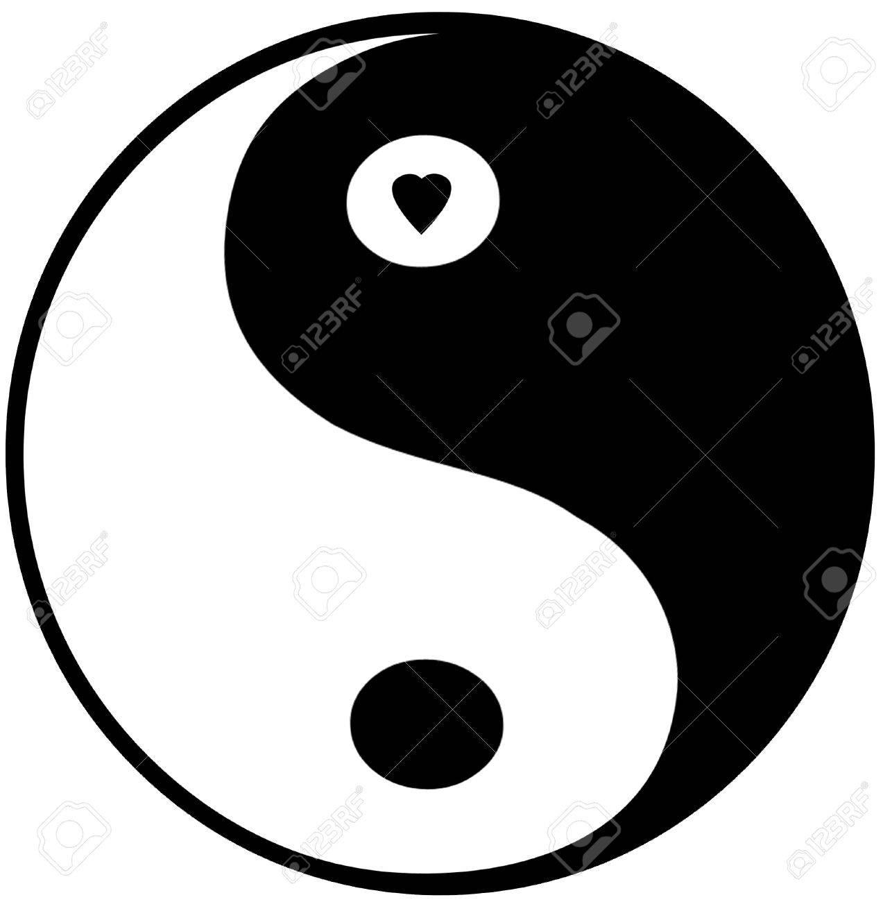 Yin Yang Symbol Small Heart In Top Circle Foto Royalty Free