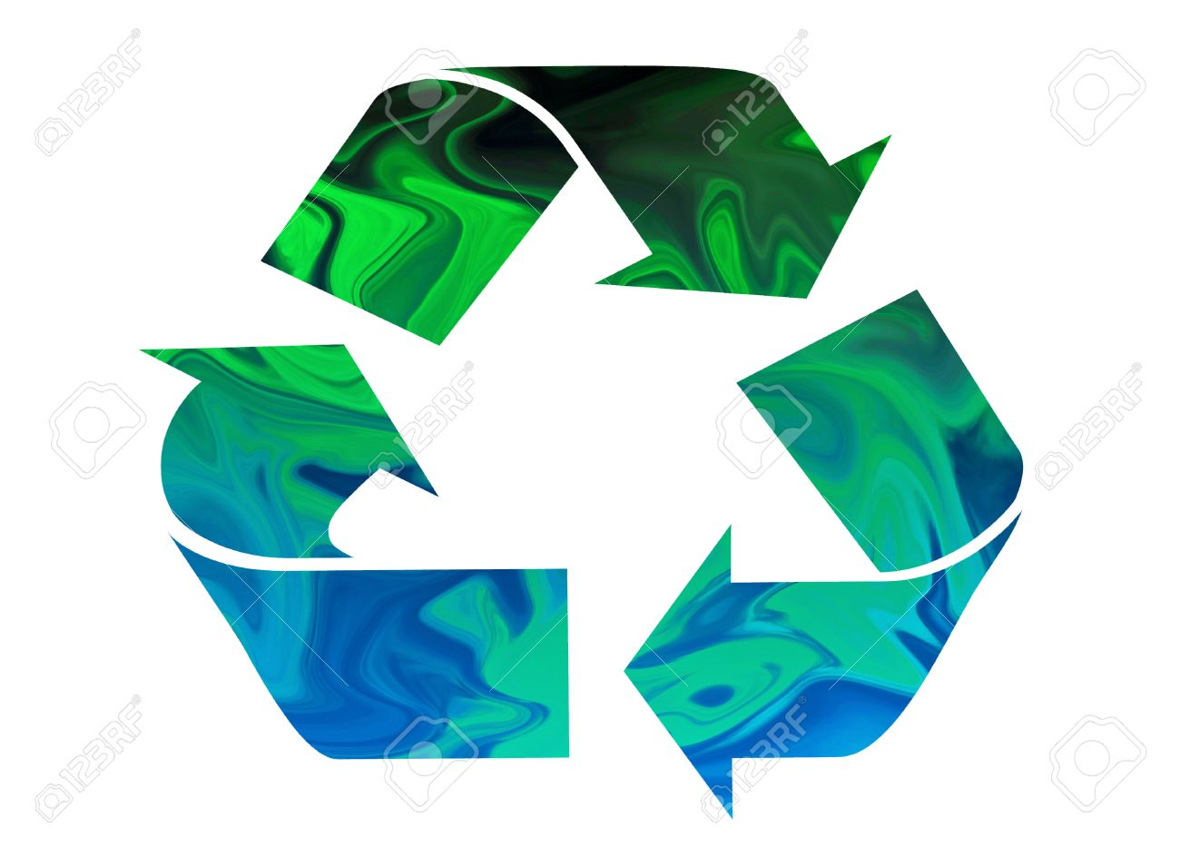 Recycle symbol moving from green to blue symbolizing Earth and Water Stock Photo - 24498923